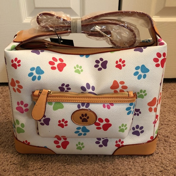 Adopt Pawprint Pet Rescue Upcycled Embroidered Floral Messenger Handbag Purse